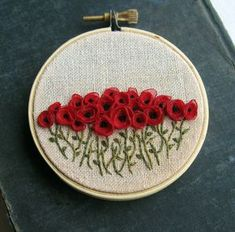 Red Poppies Hand Embroidered Wall Art