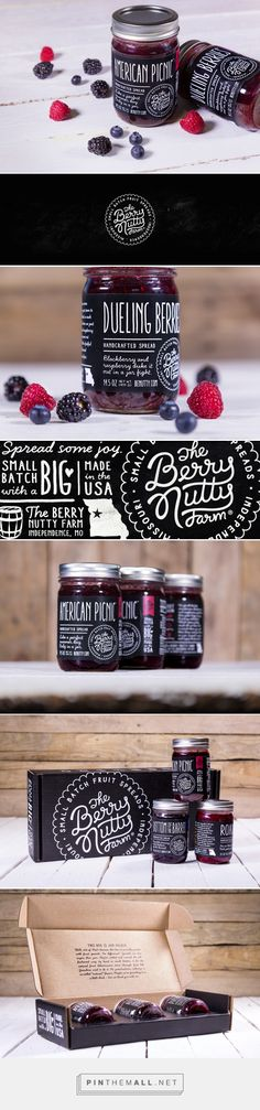 The Berry Nutty Farm packaging on Behance by Joe Wilper, Kansas City, MO curated by Packaging Diva PD.  Handcrafted fruit spreads and fruit butters in small batches with a bold brand refresh that reflected the flavors of their spreads.