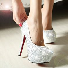 Newest silver rhinestone pumps fashion ladies red bottom sexy prom wedding shoes 2013 high heels platform for women high quality $42.69