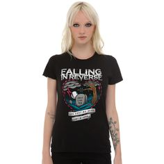 Hot Topic Falling In Reverse Tombstone Heart Girls T-Shirt ($18) ❤ liked on Polyvore featuring tops, t-shirts, black, heart tee, fitted tops, heart t shirt, heart tops and reversible top