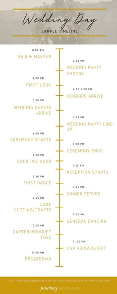 wedding beauty timeline The Wedding Day Timeline Wedding Day Itinerary, Wedding Day Schedule, Wedding Planner, Wedding Stationery, Wedding Invitations, Wedding Day Timeline Template, Wedding Templates, Wedding Music, Wedding Blog