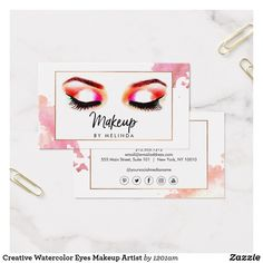 Creative Watercolor Eyes Makeup Artist Business Card