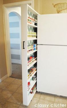 DIY Hidden storage: canned food storage cabinet. This amazing photo collections about DIY Hidden storage: canned food storage cabinet is available to Food Storage Cabinet, Canned Food Storage, Fridge Storage, Cabinet Space, Cabinet Ideas, Narrow Cabinet Storage, Cabinet Design, Cabinet Decor, Food Storage Rooms