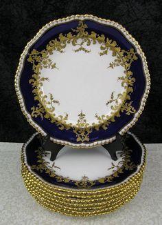 (8) c 1892 Antique Copeland Spode Cobalt Blue & Gold Encrusted Bone China Plates #CopelandSpode