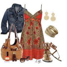 Primavera/estate abito arancio e giacca jeans