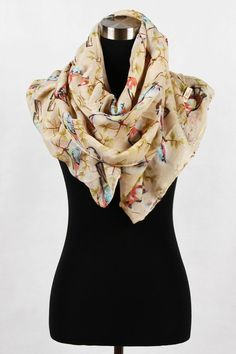 (Desirable) Sparrow Print Scarf - Beige 100% Viscose