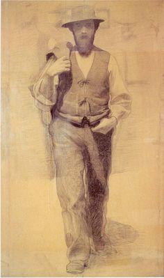 """Pellizza da Volpedo - Schizzo preparatorio per il dipinto """"Il Quarto Stato"""" 1901"""