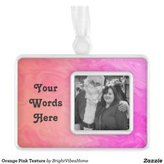 Orange Pink Texture Silver Plated Framed Ornament