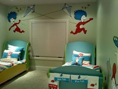 Dr. Suess shared bedroom... love it!
