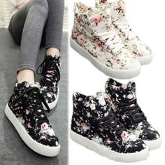 Women's Korean Canvas High Top Lace Up Floral Sport High Platform Shoes Sneakers | eBay