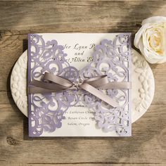 romantic lavender laser cut wedding invitations with grey ribbon bows EWWS124 …