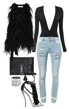 """""""feathered black"""" by minkstyles ❤ liked on Polyvore featuring Yves Saint Laurent, Off-White, Elizabeth and James, Henri Bendel, women's clothing, women's fashion, women, female, woman and misses"""