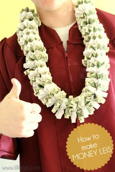 How to Make Money Leis - a tutorial on how to make these fun and practical graduation gifts! { lilluna.com }