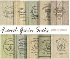 FRENCH GRAIN SACKS digital printable papers  10 by DigitalAlice