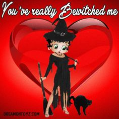 You've really Bewitched me ➡ More Betty Boop graphics & greetings: http://bettybooppicturesarchive.blogspot.com/  ~And on Facebook~ https://www.facebook.com/bettybooppictures Witch #BettyBoop with black cat