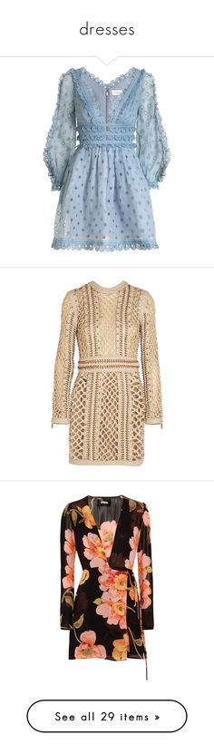"""""""dresses"""" by janeorlova ❤ liked on Polyvore featuring dresses, vestidos, mini dress, embroidery dresses, sleeved dresses, tea party dresses, tea dress, balmain, short dress and beige"""