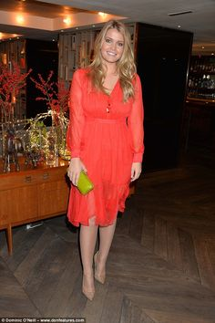 Lady Kitty Spencer looked chic in a vibrant orange dress as she joined her society pals at a swimwear launch in London on Monday Princess Diana Niece, Kitty Spencer, Royal Dresses, Lady Kitty, Royal Fashion, Women's Fashion, Orange Dress, S Girls, Lady In Red