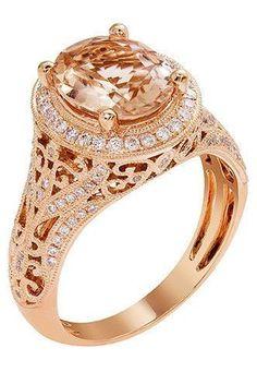 14k Rose Gold Morganite & Diamond Vintage-Inspired Ring – Sparkle & Jade