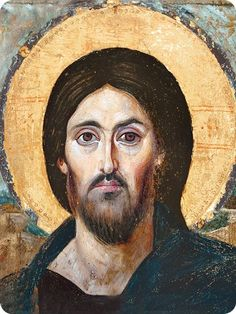 Encaustic painting on Wood. Catherine's Monastery, Sinai, gift of the Emperor Justinian and the oldest preserved icon of Christ Pantocrator, as well as the oldest known panel icon. Christ Pantocrator, Byzantine Icons, Byzantine Art, Religious Icons, Religious Art, Catholic Art, Images Of Christ, Spiritus, Old Images