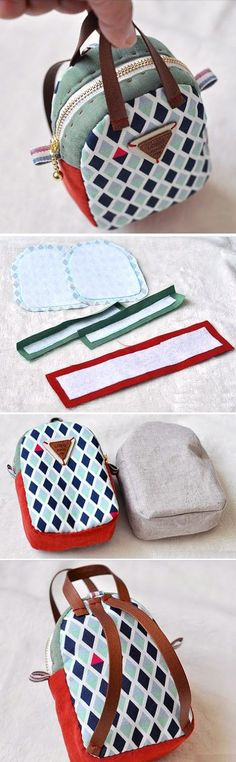 Make a Mini Back Pack Coin Purse and Key Chain. ~ Sewing projects for beginners. Step by step sew tutorial. How to sew illustration. bag Mini Back Pack Coin Purse Sewing Hacks, Sewing Tutorials, Sewing Projects, Sewing Patterns, Sewing Ideas, Purse Patterns, Sewing Tips, Craft Projects, Diy And Crafts Sewing