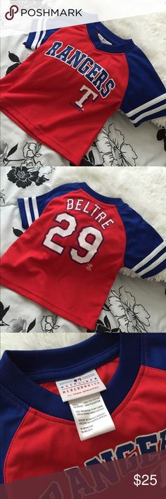 Texas Rangers Toddler Shirt Rangers Shirt, Jersey material, Great Condition, Only worn once for family photos. Size-2T Tops Tees - Short Sleeve