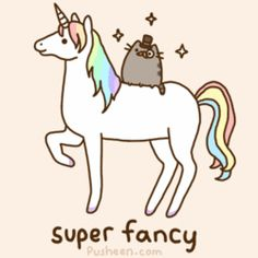 A cat with a monocle and top hat on a unicorn.  Oh, you FANCY!