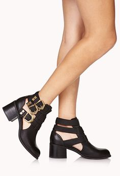 035711fcb02 Buckled Cutout Booties