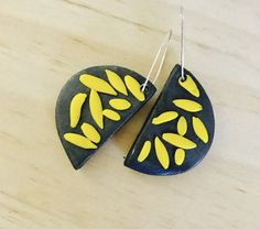 Polymer clay drop earrings / grey and yellow by MillieandMaude