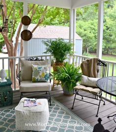 a southern screened porch decor update, chalk paint, outdoor furniture, outdoor living, painted furniture, porches, repurposing upcycling