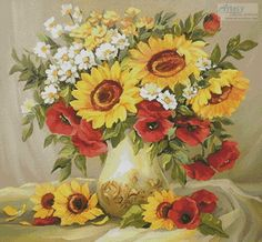 Artecy Cross Stitch. Flowers of Summer Cross Stitch Pattern to print online.