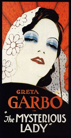 The Mysterious Lady (1928) film starring Greta Garbo - vintage movie poster