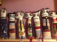 RL: I'd like these much better if they were smiling Group shot Diane Slagle artisanal monster dolls summer 2013 Fabric Dolls, Fabric Art, Fabric Crafts, Sewing Crafts, Sewing Projects, Zombie Dolls, Voodoo Dolls, Ugly Dolls, Creepy Dolls