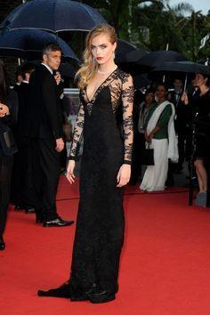 Cara Delevingne long-sleeved black lace dress, 66th Cannes Film Festival Opening Ceremony