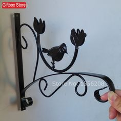Wrought iron wall hanging shelf outdoor balcony hanging basket flower pot hanger hook flower pot hanging bracketplant stents