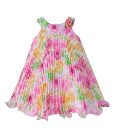 Love this White & Pink Floral Pleated Yoke Dress - Infant on #zulily! #zulilyfinds