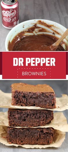Dr Pepper Brownies are an easy, one- bowl recipe that are decadent and delicious! Perfect for tailgating or any get together. Brownie Recipes, Cookie Recipes, Dessert Recipes, Fun Recipes, Pumpkin Recipes, Dessert Ideas, Cake Ideas, Just Desserts, Delicious Desserts