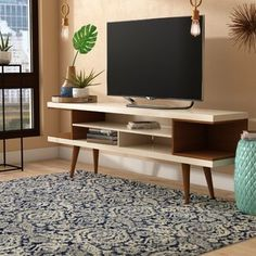 George Oliver Lemington TV Stand for TVs up to 78 inches Colour: Off White/Maple Cream Tvs, Floating Entertainment Center, Entertainment Centers, Solid Wood Tv Stand, Living Room Tv, Counter Stools, Bar Counter, Mid-century Modern, Modern Rustic