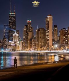 Image may contain: night, skyscraper, sky, outdoor and water Chicago Beach, Chicago River, Chicago City, Chicago Skyline, Chicago Illinois, Chicago Chicago, Beautiful World, Beautiful Places, Destinations
