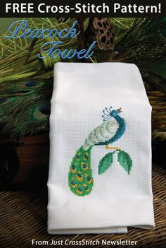 Peacock Towel Download from Just CrossStitch newsletter. Click on the photo to access the free pattern. Sign up for the newsletter here: AnniesNewsletters.com
