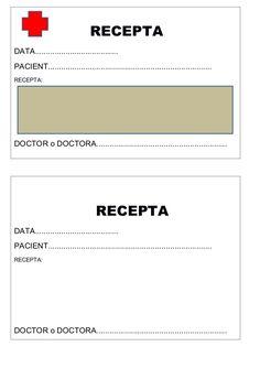 Fitxa per imprimir de la recepta del racó de l'hospital. Pretend Play, School, Female Doctor, Human Body, Activities, Childhood Games, Classroom, Blue Prints