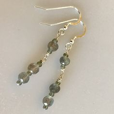Delicate Tiny Labradorite Bead Drop Earrings