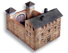 PAPERMAU: Prison With Two Watchtowers Paper Model In HO Scale - by Marklin