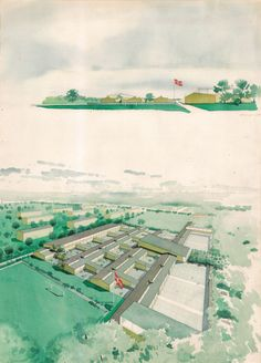 Arne Jacobsen. Aerial perspective drawing of the Munkegårds School, north of Copenhagen, from the southwest. 1950 The belief that children were more at ease in intimate spaces affected the plan and decoration of postwar schools, and resulted in numerous low-rise schools with access to small gardens adjacent to the classroom. Jacobsen's Munkegårds School embodied this ideal. Although the school was large (designed for a thousand students from ages seven to fifteen), it retained a sense of…