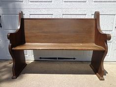 Antique Solid Wood Church Pew Bench Deacon Seating by DejaVuDecors