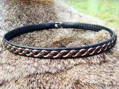 Viking Jewelry DRAUPNIR Copper Braid and Black Leather Sami Necklace Collar Choker - Custom Handmade Scandinavian Design.