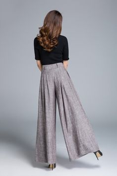 palazzo pants brown linen pants wide leg pants pleated  ad5fa84331