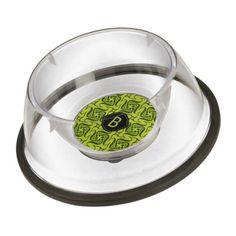 Custom monogram green pattern bowl