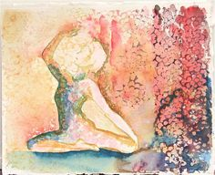 yoga painting original watercolor painting by SunnyLeeStudio, $100.00