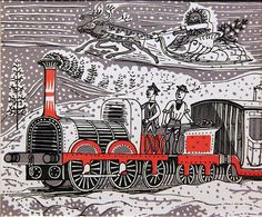 The Titfield Thunderbolt by Edward Bawden 1952 - Christmas card by Kotomicreations, via Flickr