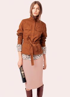 See by Chloe. F13. Safari jacket in rust + blush skirt.